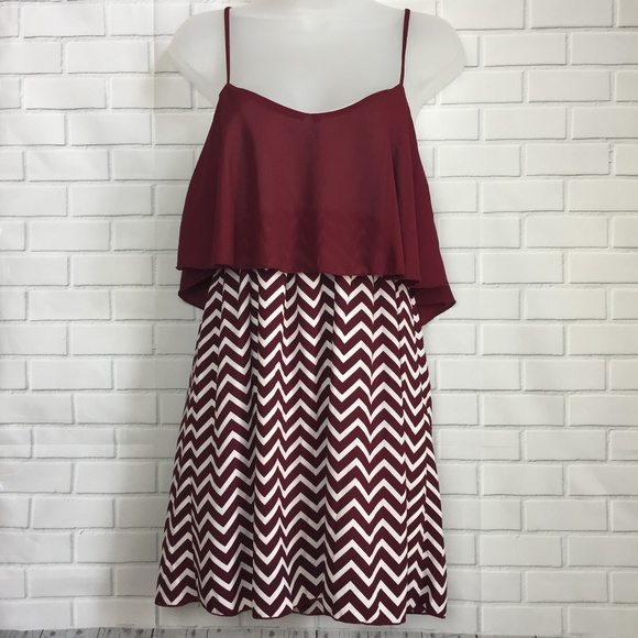 Game Day Dress Maroon and White Chevron Size Small d660212cc